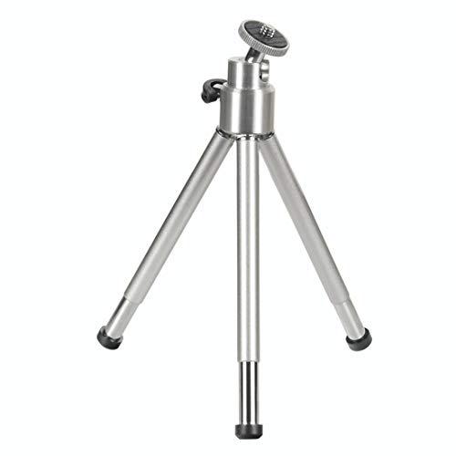 Hama Mini-Stativ mit 3D-Kugelkopf (Stativ für Handy, Kamera oder Action-Cam, Mini-Dreibeinstativ aus Metall) Silber