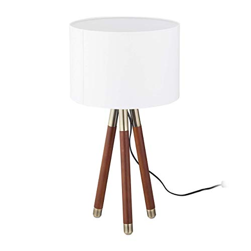 Relaxdays bedlamp, lampenkap lamp met houten poten, 3 poten in retro-stijl, 1 lamp, E27 fitting, HD: 57x30 cm, wit