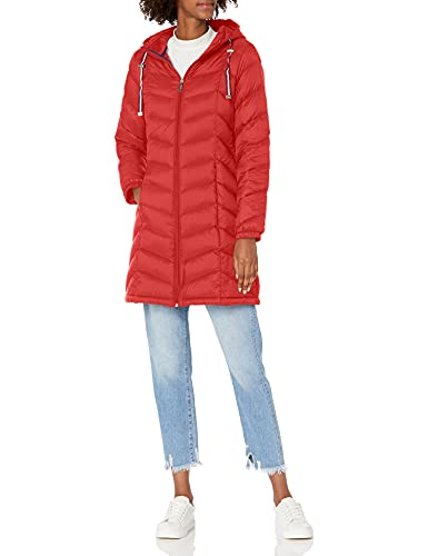 Tommy Hilfiger Women's Mid Length Chevron Quilted Packable Down Jacket, Crimson, Large