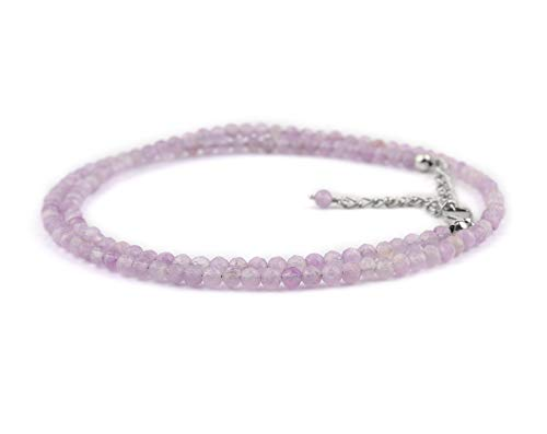 Natural Lavender Quartz Gemstone Dainty Choker Necklace Birthstone Gift for her Chakra Healing Crystals Handmade Beads Jewelry in Rhodium Plated 925 Sterling Silver Chain 18 inch