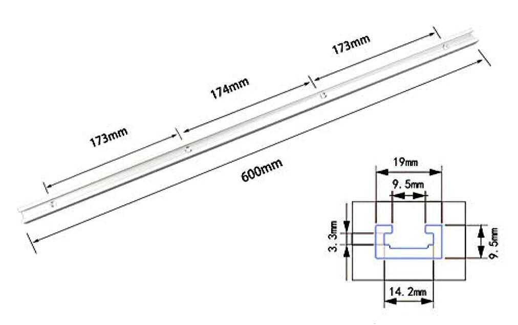 しっかり連鎖非常にCarAngels Tスロットトラック 9.5mm×19mm規格 ワークテーブル 天板用 アルミ製 大工ツール テーブルソー用 (600MM)