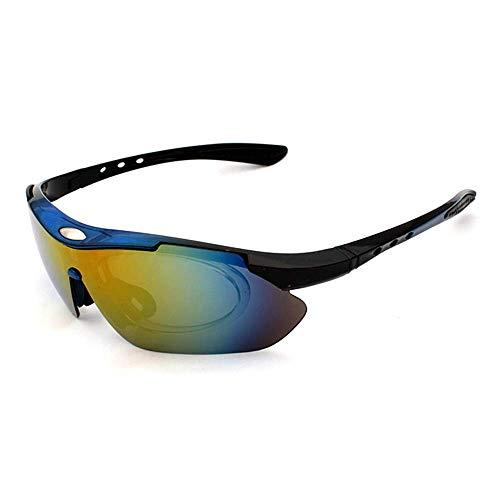 WOXING ,Polarizadas Antideslumbrantes Gafas De Sol,100% Bicicleta Ciclismo Gafas,para Los Hombres Mujer Gafas,Aire Libre Deportes Clip En 5 Piezas Gafas,-Azul 15.5 x 4.5 cm(6x2inch)