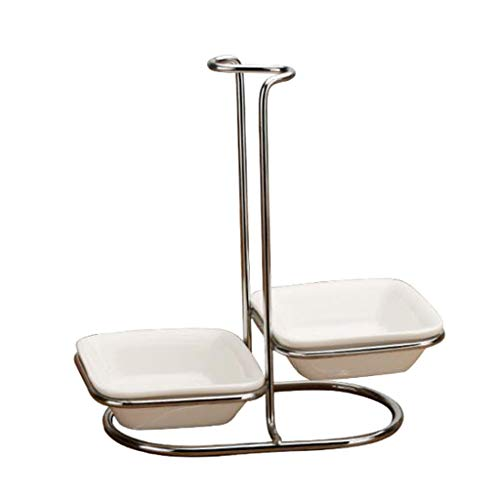 Modern White Ceramic Kitchen Ladle Spoon Rest Holder with Polished Stainless Steel Rack - Silver Double square bowl