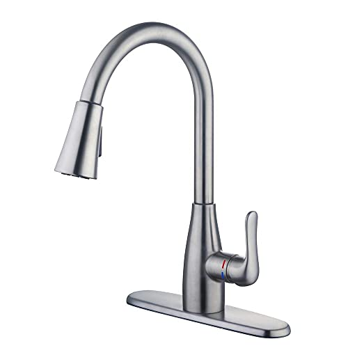 Glacier Bay McKenna Kitchen Faucet with Single Handle Pull-Down Sprayer (Stainless Steel)