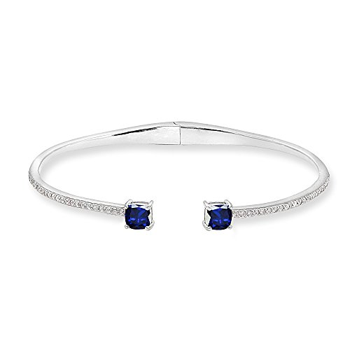 Sterling Silver Synthetic Blue & White Sapphire Cushion-Cut Dainty Cuff Bangle Bracelet