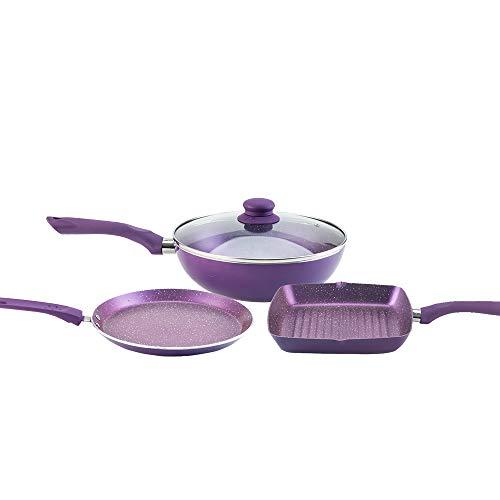 Wonderchef Orchid Premium Plus Non-Stick Induction Base Cookware Set of 3 - (Purple)