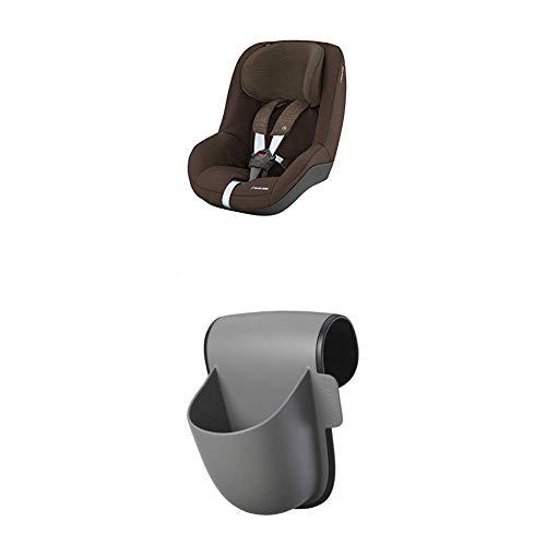 Maxi-Cosi Pearl Kindersitz mit 5 Sitz- und Ruhepositionen, Gruppe 1 Autositz (9-18 kg) nutzbar ab 6 Monate bis ca. 4 Jahre, nomad brown + Maxi-Cosi Pocket Becherhalter, grau