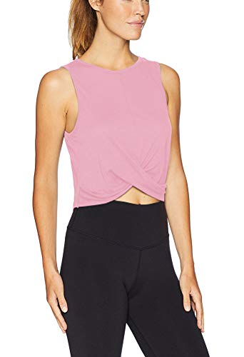 Mippo Womens Workout Crop Top Sports Running Tops Cute Yoga T-Shirts Athletic Gym Crop Tops Activewear Exercise Fitness Clothes Sleeveless Flowy Cropped Tops for Women Pink S