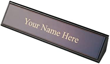 Dacasso School Office Boardroom Meeting Table Top Accessories Walnut And Leather Name Plate by Dacasso