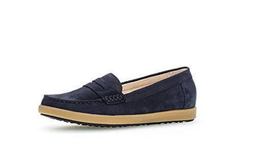 Gabor Damen SlipperMokassins, Frauen Slipper,Comfort-Mehrweite, schlupfhalbschuh Slip-on College Schuh Loafer Damen,Blue(carame/bluet),38 EU / 5 UK