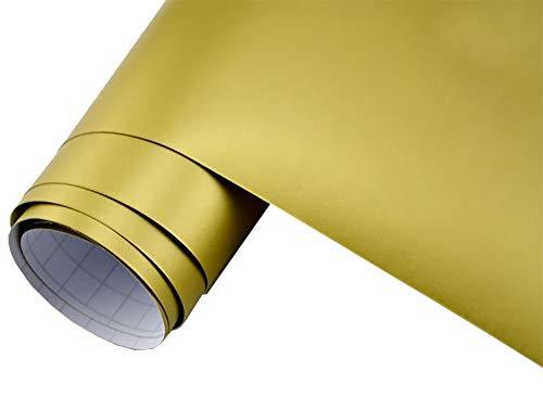 Neoxxim 4,60€/m2 Premium Auto Folie - Gold MATT 100 x 150 cm - blasenfrei mit Luftkanälen ca. 0,15mm dick Folierung folieren bekleben