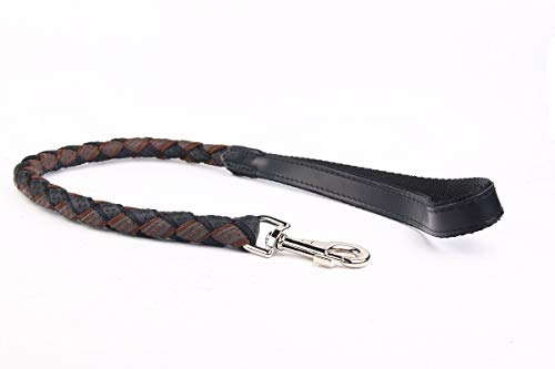 HOGACA Kurze-Hundeleine Hunde-Kurz-Leine 120 Echt-Leder mit Textilband geflochten 80cm lg.