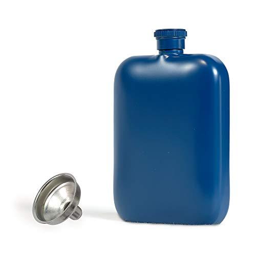 RRIBOUDWAN Fiaschetta per Liquore per Uomo con Imbuto Fiaschetta per Donna in Acciaio Inossidabile per Uso Alimentare Bottiglia di Vino Whisky Alcolico Nero 6 OZ (Blu_Opaco)