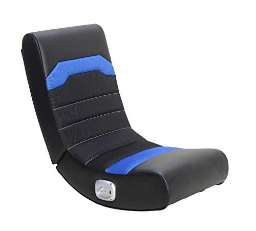 X Rocker Stark 2.0 Bluetooth Wireless Foldable Rocking Video Gaming Floor Chair with 2 Speakers, Black and Blue