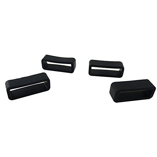 HONBAY 4PCS 20mm Rubber Replacement Watch Band Strap Loops