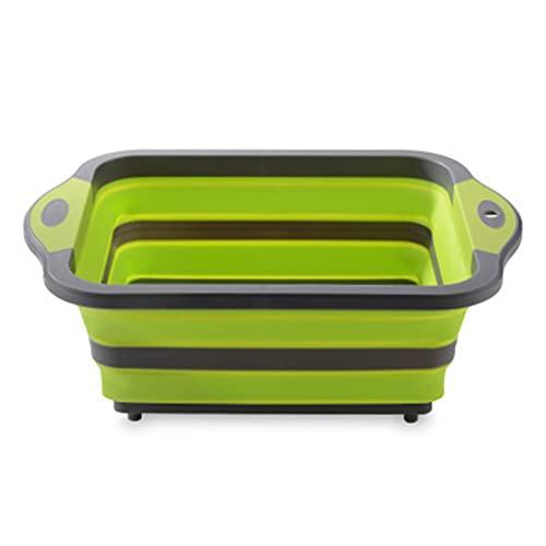 MJJCY Tablero de Corte Plegable Plegable Bloque de Corte Plegable Tablero de Corte de Silicona Fruta Cesta de Lavado con Enchufe de Drenaje # 1 (Color : Green)