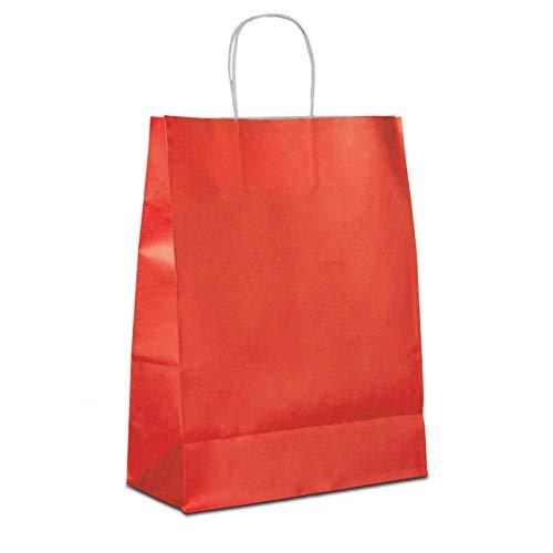 50 x Papiertragetaschen rot 32+12x41 cm   stabile Papiertüten farbig   Papierbeutel Kordelhenkel   Papiertaschen Mittel   Paper Bag   HUTNER