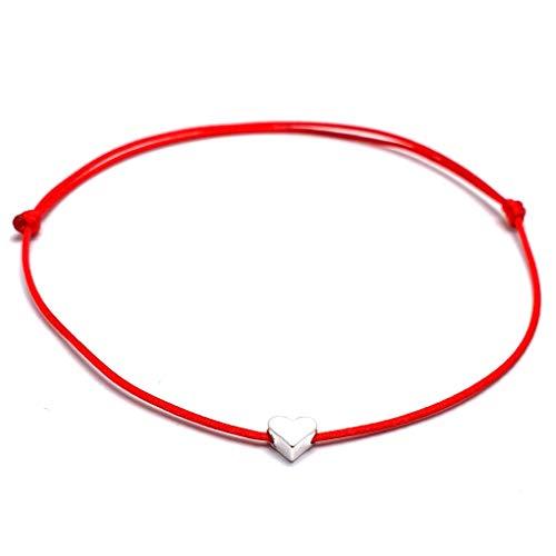 Pulsera Tobillera de España Tamaño Ajustable La Tobillera de Cordón de Nailon incluye una Bolsa de Organza Hecho a Mano en España (Rojo Plata, Corazón)