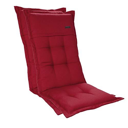 Homeoutfit24 2-Stück Gartenstuhl Auflage (123 x 50 x 8) Elbe, Hochlehner-Auflage aus Dralon, hochwertig, waschbar und pflegeleicht, in Rot