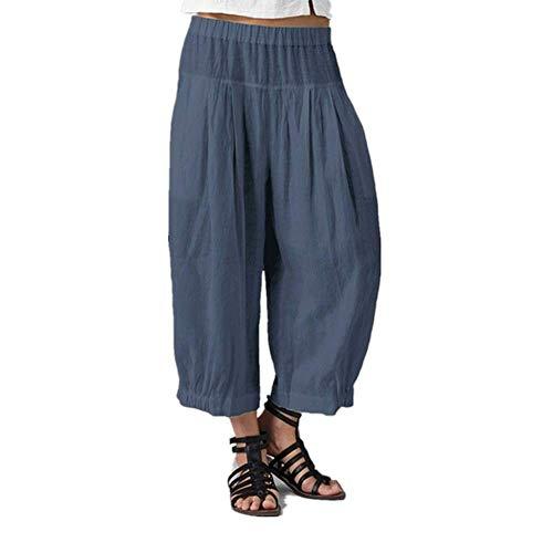 WOZOW Capri Hosen Freizeithose Damen Harem Casual Solid Einfarbig Lose Bloomers Falten Plissee Lang Long Mid Waist Saggy Arbeitskleidung Yoga Crop Trousers Stoffhose Übergröße (4XL,Blau)