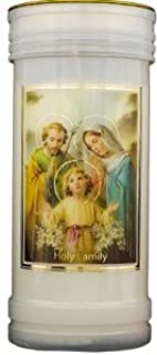 Holy Family- Pillar Candle & Family Prayer with Gold Foil Highlights.