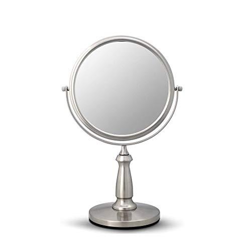 LifeX Mini Tour Miroir De Maquillage De Voyage Double Face 3X Loupe En Métal Compact 360 Degrés Rotation Stand Bureau Brossé Argent Vanity Miroir Miroir Cosmétique Maquillage Outils