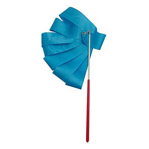 Leezo 2 m / 4 m Bunte Gymnastikbänder zum Tanzen Rhythmische Kunst Gymnastikband für Kinder, Baton-Wirbeln, Tanzschlangen L blau