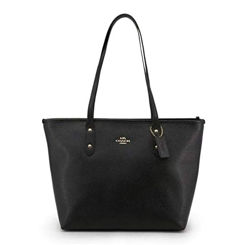 COACH A Crossgrain City Zip Tote w/PVC Bottom Black One Size