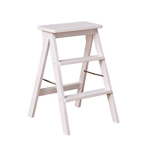 2-Stufen-Leiter aus massivem Holz Klappleiter tragbare Haushalts Küche Schneidetisch Stuhl Stuhl Barhocker (Farbe : Weiß, größe : 42 * 48 * 64cm)