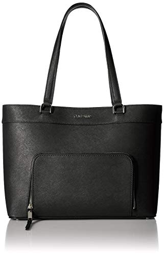 Calvin Klein Louise Saffiano Leather Key Item Tote, Black/Silver