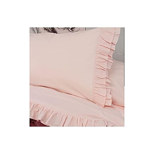 L'ATELIER17 Juego de sábanas para cama individual de algodón Brigitte 3 variantes con volante rosa claro