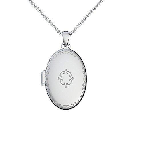 Medaillon oval groß Silber 925 Amulett antik Vintage *GRATIS persönliche Gravur* zum Öffnen für Bilder, aufklappen, aufklappbar mit Kette für Zwei Fotos (Mealion, Medallion), Anhänger