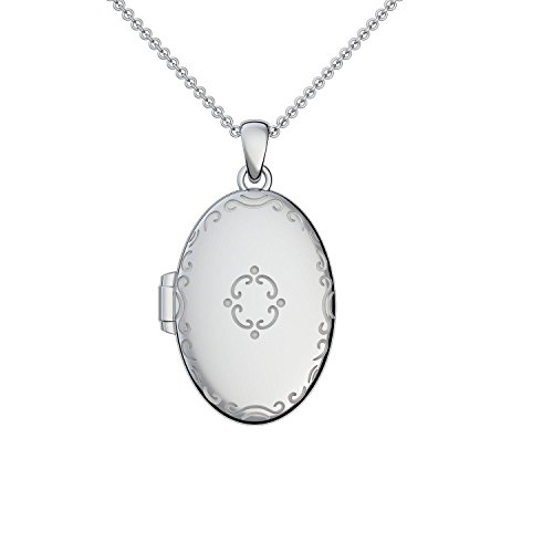 Medaillon oval groß Silber 925 Amulett antik Vintage (Mealion, Medallion) zum Öffnen antik, aufklappen, aufklappbar mit Kette für Foto Silber Kette 925 + inkl. Luxusetui FF102-3 SS92545