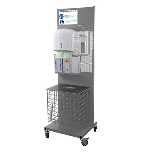 Hygienestation für Kunden und Mitarbeiter - Handdesinfektion mit Seifenspender Papierkorb und Handtuchspender