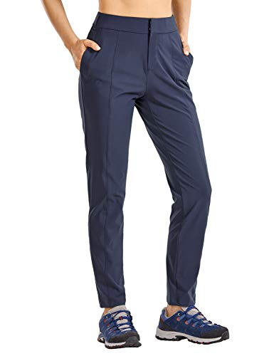 CRZ YOGA Damen Wanderhose Leichte, Schnell Trocknende, Bequeme Freizeithose mit Elastischer Taille Gewöhnliches Blau 42