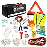 Always Prepared Premium 125 Piece Roadside Emergency Assistance Kit with Jumper Cables - All-in-One Auto, Visibility, Safety, and First Aid Essentials