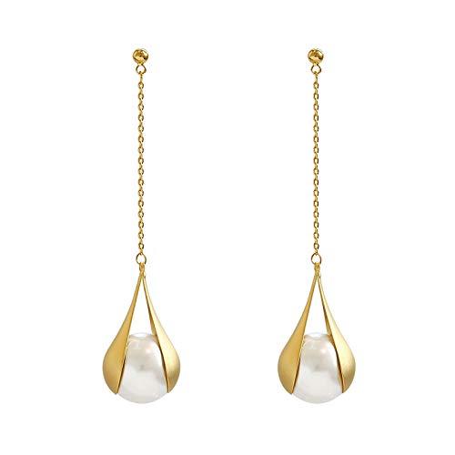 NOBRAND Pendientes De Mujer Pendientes Colgantes De Perlas Simuladas De Moda Pendientes Largos De Metal De Color Dorado