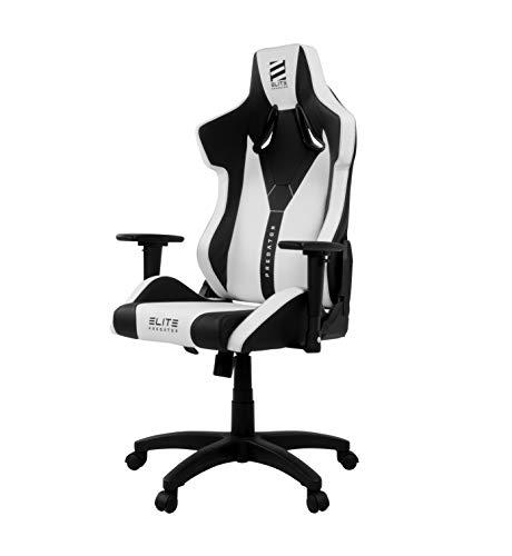 ELITE Predator Racing Gaming Stuhl - Bürostuhl – Kunstleder - Ergonomisch - Racer – Drehstuhl – Chair – Chefsessel – Schreibtischstuhl (Weiß/Schwarz)