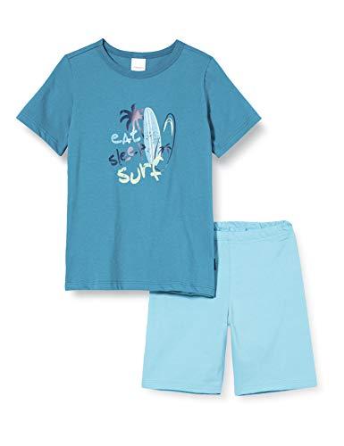 Schiesser Jungen Rat Henry Kn Kurz Zweiteiliger Schlafanzug, Blau (Petrol 811), (Herstellergröße:104)