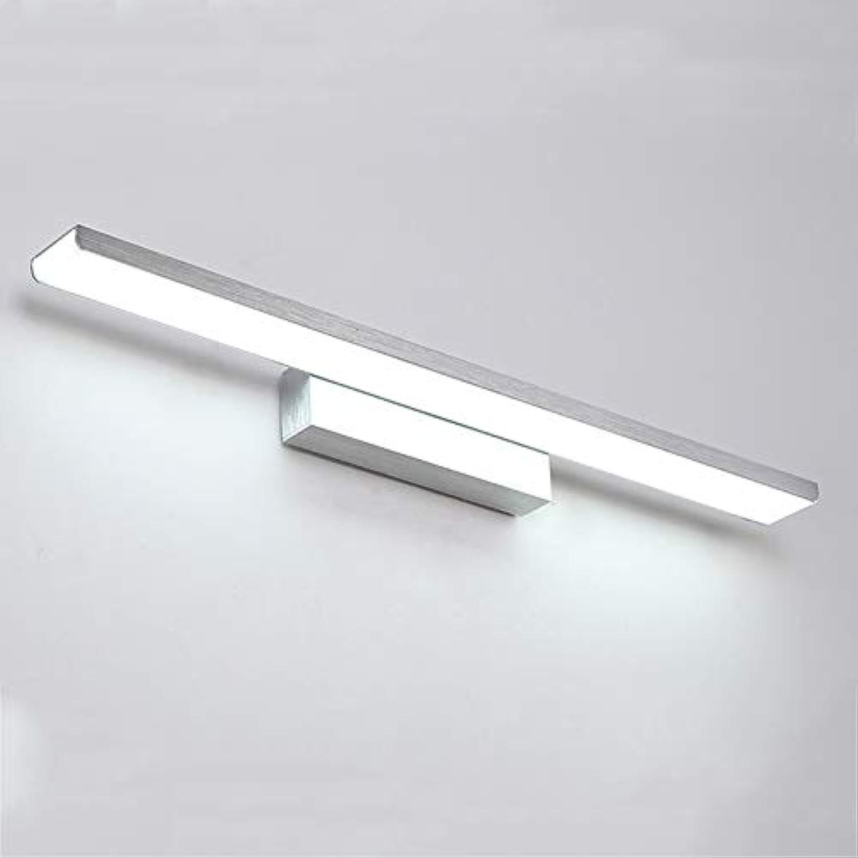 CUICANH Badezimmer Led Wasserdichte Spiegel Vorne Lampe, Moderner Einfachheit Aluminium Halter Wandleuchten Studiezimmer Schlafzimmer Spiegel Wandlampen-8w-silber-41cm Weies Licht(6000-6500k)