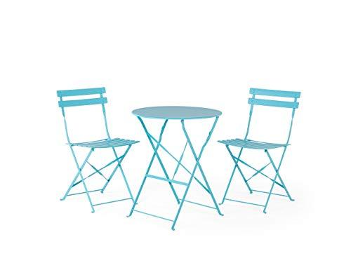 Beliani Conjunto de jardín Mesa y 2 sillas Azul Fiori