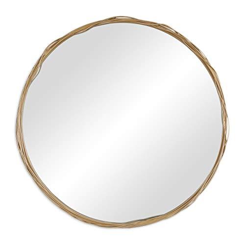 Relaxdays Specchio da Parete Rotondo, Cornice di Metallo, Design Moderno da Muro, Ø 51 cm, Bagno & Corridoio, Dorato