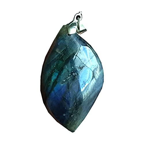 Colgante de labradorita natural, joyería de cuentas de cristal de labradorita para mujeres y hombres, 47 x 28 x 13 mm, piedra de luna de plata amarilla y azul claro AAAAA