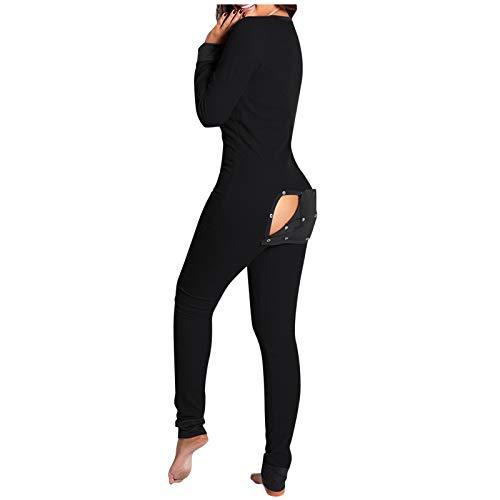 Bumplebee Jumpsuit Schlafanzug Damen Herren, Einteiliger Schlafanzug mit Geknöpfter Klappe für Erwachsene, Overall Pyjama Set Sleepwear für Herbst Winter Langarm Nachtwäsche