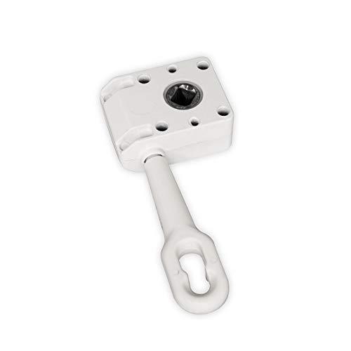 DIWARO.® | Schneckengetriebe für Markisen | Untersetzung 7:1 | 120mm | 13mm Innenvierkant | weiß | Markisengetriebe