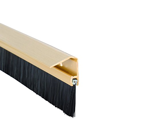 Stormguard 02SR0720838G Bottom of The Door Brush Strip Draught excluder 838mm (2 9 ) Gold with Cover to CONSEAL Screws, 838 mm