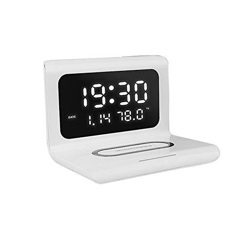 TTBD Cargador InaláMbrico con Reloj Despertador EléCtrico LED Digital Reloj TermóMetro Digital...