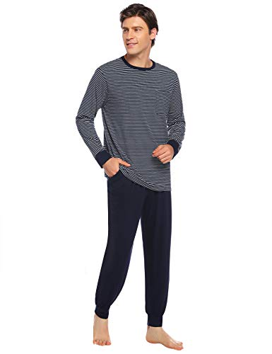 Hawiton Pijamas Hombre Invierno Manga Larga Pijama para Hombre de Algodón 2 Pieza Pantalones Largo de Rayas