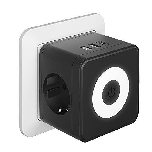Kinglink Enchufe USB, 5 en 1 Cubo Ladron Enchufes con 3 puertos USB(3.4A max), (250V/10A) Enchufe USB Pared, Cubo Enchufe Multiple Pared con Luz indicadora, Enchufe USB Negro con Phone, Pad