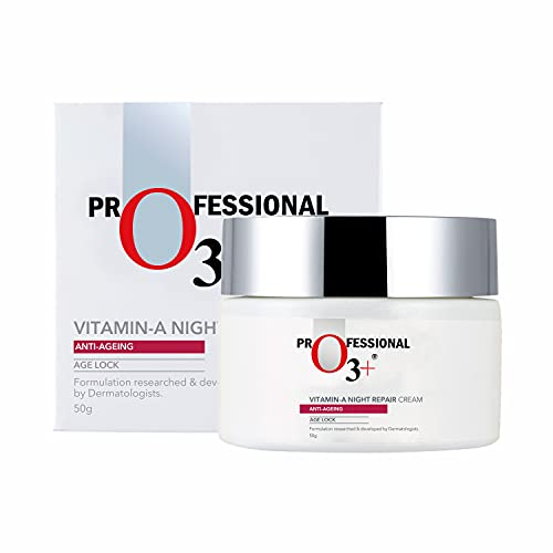 O3+ Vitamin A Night Repair Face Cream Anti Ageing Wrinkle Filler Deep Moisturizer for Acne Removal & Even Skin Tone, 50g